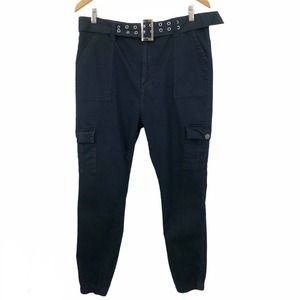VIP Jeans Cargo Jogger Pant Black High Rise Belted